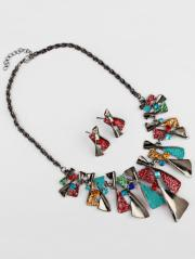 Vintage Geometric Splicing Faux Gem Bohemian Necklace Set