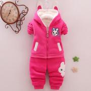 Thickened Cartoon Bunny Pattern Zipper Hooded Set (3989748)