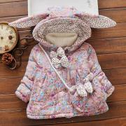 Flower Prints Bunny Ears Outerwear With Bag (3996831)