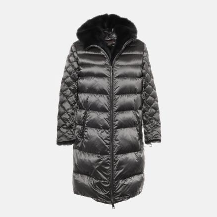 Long down jacket in matte grey