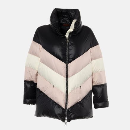 Black down jacket with colourful pattern