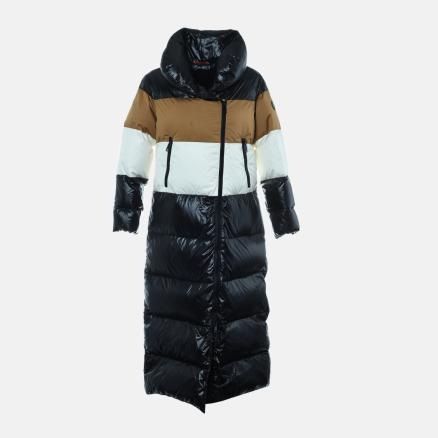 Long down jacket in black, tan and off white