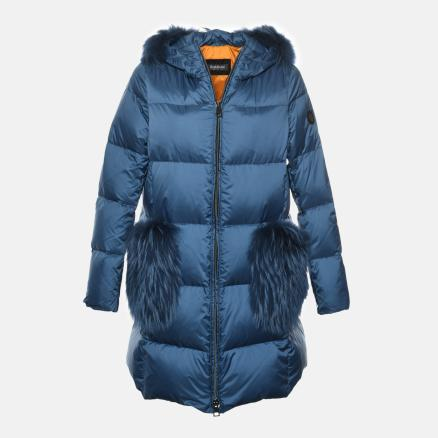 Long air-force blue down jacket