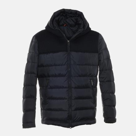 Blue down jacket with fabric inserts