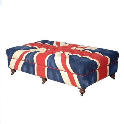 Пуф Bensington Medium Footstool 130x80x44 Vintage Union Jack 0*0 H-BEN-SO-0029-R