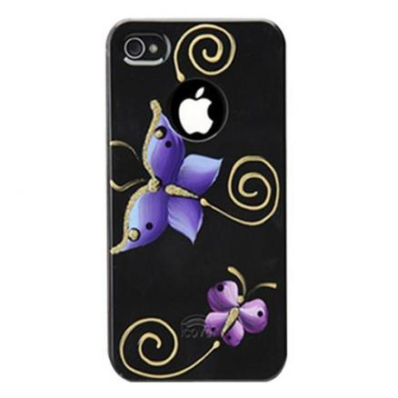 Панель для iPhone 5/5S iCover Hand Printing Butterfly Black