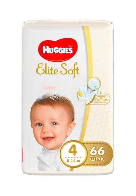 Подгузники huggies elite soft, 4 (8-14кг), 66 шт. Huggies