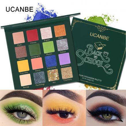 UCANBE BACK TO SCHOOL Eye Shadow Palette Green Eyes Makeup 16 Colors Pressed Glitter Shimmer Matte Eyeshadow Pigment Cosmetics