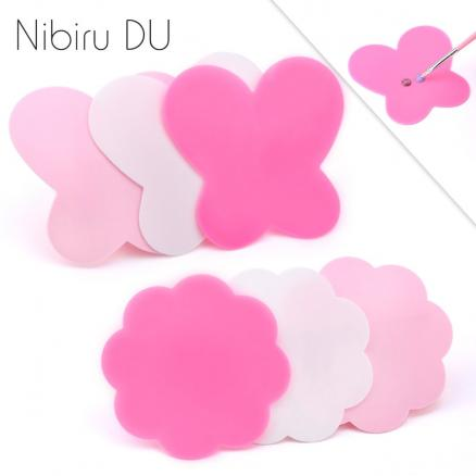 2pcs/set Nail Art  Palette Butterfly Shape Colorful Silicone UV Gel Polish Cream Foundation Mixing Nail Tools