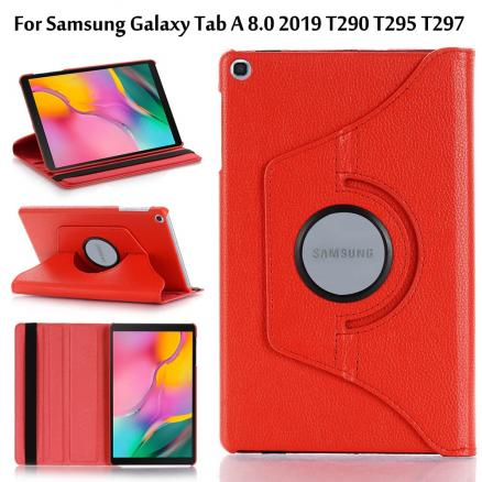 360 Rotating PU Leather Case for Samsung Galaxy Tab A 8.0 2019 T290 T295 T297 Cover Tab A 8.0 SM-T290 SM-T295 Sand Holder Funda