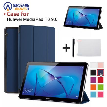 """Tablet case for Huawei MediaPad T3 10 9.6inch AGS-W09 L09 smart protective cover skin for Honor Play Pad 2 9.6"""" case free pen"""