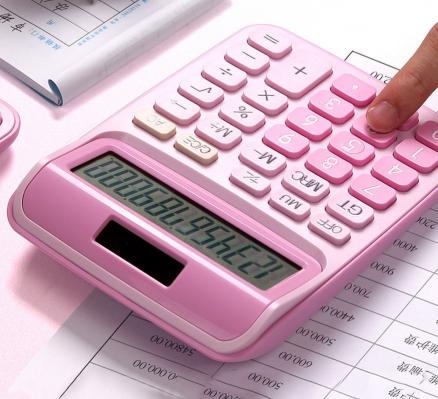 With voice calculator cute Korean candy color little fresh calculator computer big keys financial accounting special girl pink