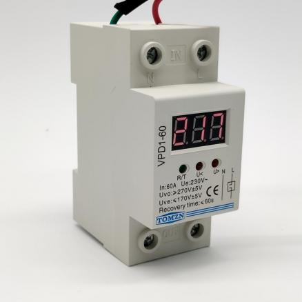 40A 60A 220V  automatic reconnect over voltage under voltage protection protective device relay with Voltmeter voltage monitor