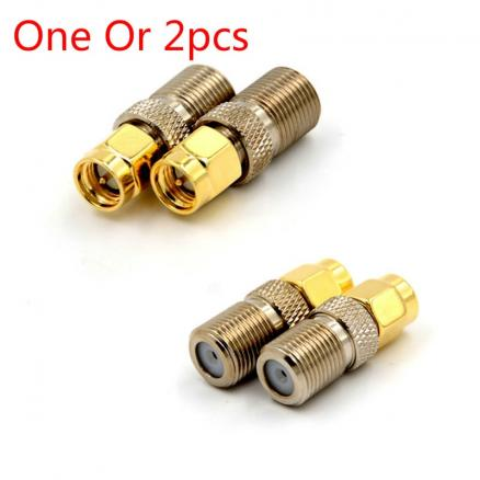 One Or 2pcs F Type Female Jack To SMA Male Plug Straight RF Coaxial Adapter F Connector To SMA Convertor Gold Tone