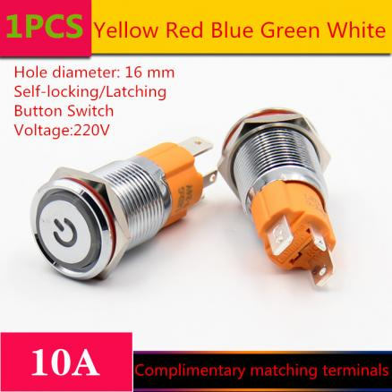 1PCS  YT1211  Hole Size 16 mm  Self-locking/Latching switch Metal push button switch With LED Light 220 V  10A Sell at a Loss