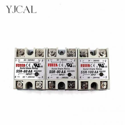 YJCAL Solid State Relay SSR-60AA SSR-80AA SSR-100AA 60A 80A 100A AC Control AC Relais 80-250VAC TO 24-380VAC SSR 60AA 80AA 100AA