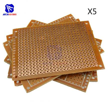 5PCS Universal PCB Board 50x70 mm 2.54mm Hole Pitch DIY Prototype Paper Printed Circuit Board Panel 5x7 cm Single Sided Board