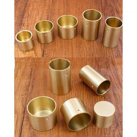 4Pcs Round Brass Tip Cap for Mid-Century Modern Table Leg Feet Replacement Cover and Sofa Foot Seal Cover