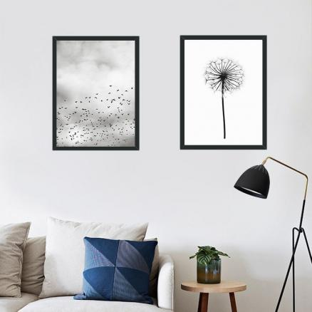 Northern European-Style Geese And Dandelion Canvas Frameless Hanging Painting Wall Paintings Library Art Room Simple Painting Co