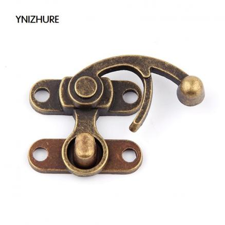 10PCS 38*45mm Metal Vintage Hardware Hasps Decorative Jewelry Gift Wine Wooden Box Hasp Antique Suitcase Latch Hook With Screws