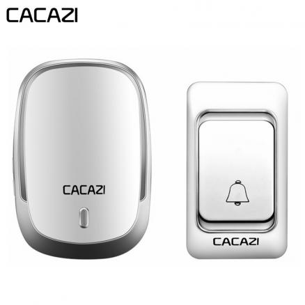 CACAZI Wireless Doorbell DC battery operated Control Button 200M Remote LED Light Home cordless call bell 4 volume 36 chime