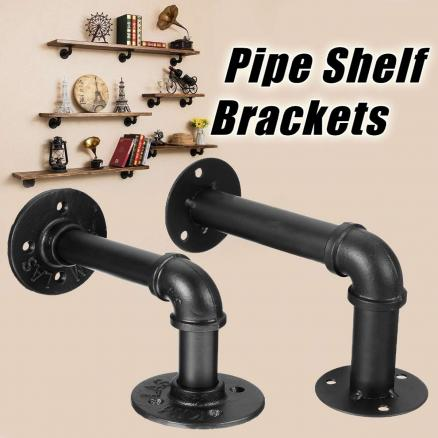 1Pcs Industrial Black Iron Pipe Shelf Bracket Wall Mounted Floating Shelf Hanging Wall Hardware DIY Home Decor New Arrival