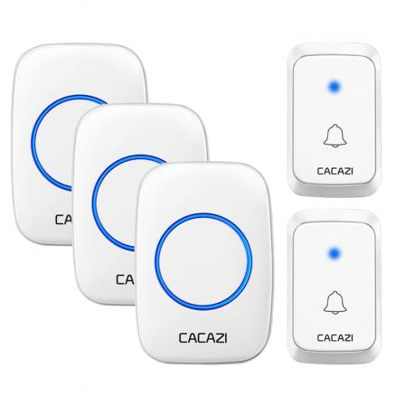 CACAZI Wireless Waterproof Doorbell DC battery-operated 1 2 Button 1 2 3 Receiver 300M Remote Cordless Smart Doorbell 36 chimes