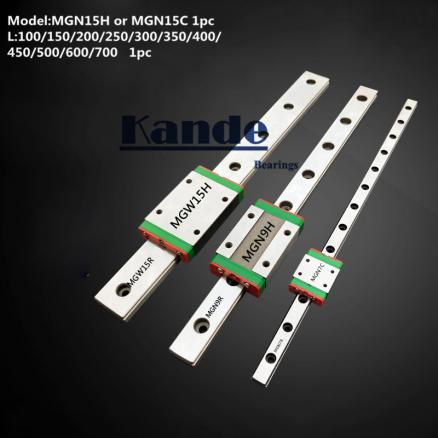 MGN15 CNC 15mm miniature linear rail guide  MGN15C L100 - 600 mm MGN15H linear block carriage or MGN15H narrow carriage