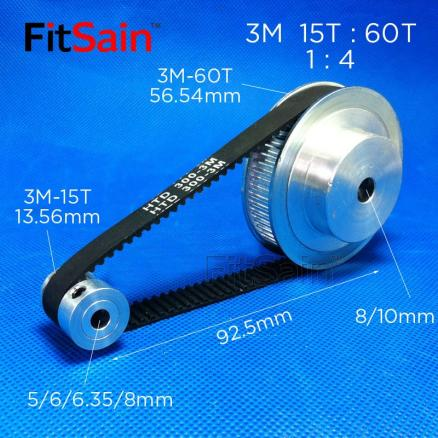 FitSain-3M pulley synchronous wheel Timing belt 15T:60T 1:4 reduction bandwidth 10 holes 5-6-6.35-8mm