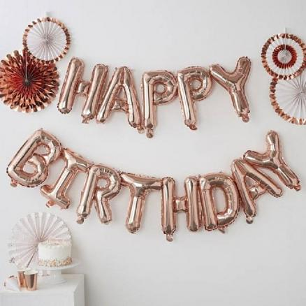 13pcs Happy Birthday Letter Balloons 16inch Foil Ballons Birthday Party Decorations Rose Gold Silver Black Globos Gifts Supplies