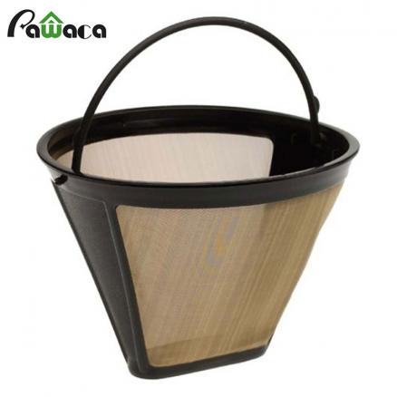 Cone-Style Reusable Coffee Filter 10-12 Cup Permanent Coffee Maker Machine Filter Gold Mesh with Handle Cafe Coffees Tools