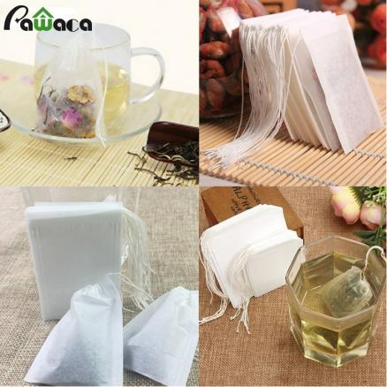 100 Pcs/pack 3 Size Empty Tea Filter Bags Disposable Drawstring Herb Loose Tea Filter With String Heal Seal Filter Paper Bags