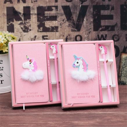 1set Flamingo Unicorn Pink Notebook with Pen Birthday Birthday Party Decorations Kids Unicorn Party Baby Shower Deco Mariage.Q