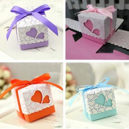 50pcs Love Heart Small Laser Cut Gift Candy Boxes Wedding Party Favor Candy Bags With Ribbon Decor  DTT88