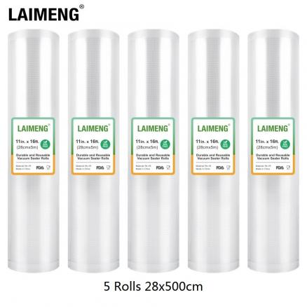 LAIMENG 5 Rolls/Lot 28cm*500cm Food Vacuum Bags for Vacuum Packer Vacuum Sealer Bags Storage Bags For Vacuum Packing R117