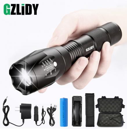 Super Bright LED Tactical Flashlight 5 Modes T6 / L2 / V6 Waterproof Torch Zoom Camping Light Using 18650 Battery with Gifts