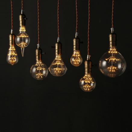 LED Edison Vintage Starry Sky Lamp A19 ST64 G95 G125 Retro Led Firework Dimmable Bulbs For Home Christmas Decoration Club lights