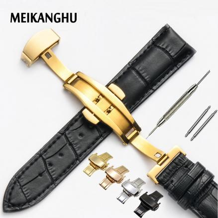 Genuine Leather Watchband Rose Gold Butterfly Buckle Watch Band Croco Grain Bracelet for Watch Strap 16 18 19 20 21 22 mm Cinta