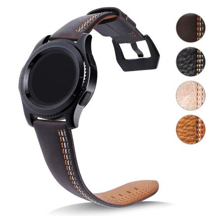 22mm Watch Bands Genuine Leather Strap For Samsung Gear S3 Frontier Classic Smart Watch Replacement Wristband Accessories
