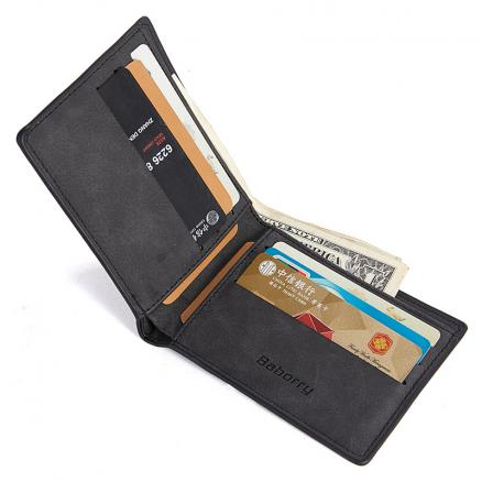 Short Bifold Wallet Men Leather PU Vintage Solid Casual Wallets Male Multi Cards Wallets Purse RFID Protection Slim Card Holders