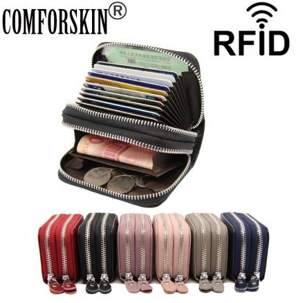 COMFORSKIN New Arrivals Genuine Leather RFID Anti-theft Brush Card Holders Large Capacity Double Zipper Compartment Card Wallets