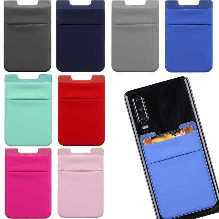 1Pcs Adhesive Sticker Phone Pocket Cell Phone Stick On Card Wallet Stretchy Lycra Credit Cards ID Card Holder Pouch Sleeve