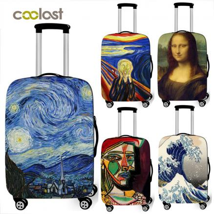 Van Gogh art oil painting / Janpan wave / Mona Lisa luggage protective cover elastic suitcase cover anti-dust trolley case cover