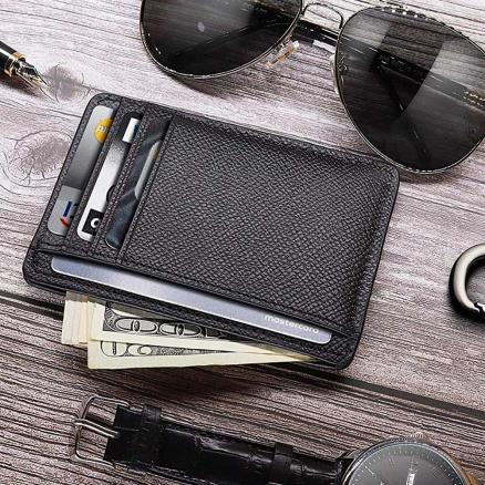 Men Card Holder PU Leather 6 Cards Slot Ultra-thin Lichee Pattern Wallet New
