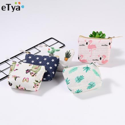 2018 New Girl Coin Purse Wallet Square Zipper Women Cotton Coins Bag Wallet Pouch Card Key Holder Bag Case
