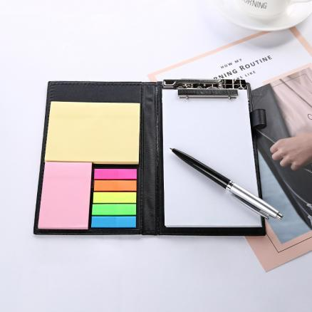 Classic multi function office school leather writing pads with pen stationery,fine portable memo pad and clipboards set A6