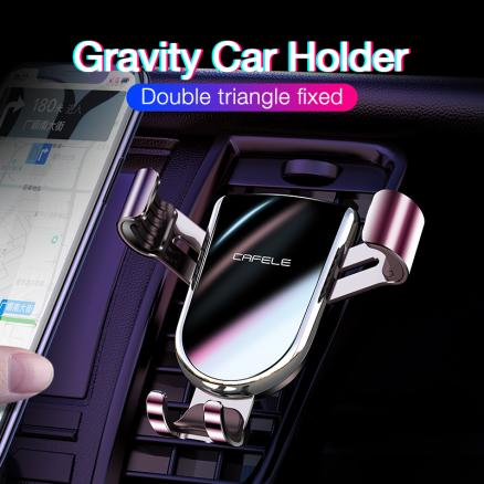 CAFELE Mute series Gravity Car Phone Holder for Air Vent Mount Phone Holder Stand for iPhone Metal Cell Mobile Phone Holder