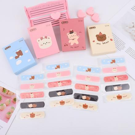 20PCs Kawaii Breathable Cute Cartoon Band Aid Outdoor Portable Decor Adhesive Bandages First Aid Emergency Kit For Kids Children