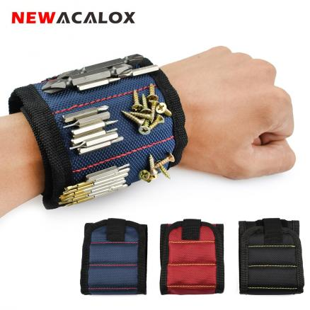 NEWACALOX Polyester Magnetic Wristband Portable Tool Bag Electrician Wrist Tool Belt Screws Nails Drill Bits Holder Repair Tools