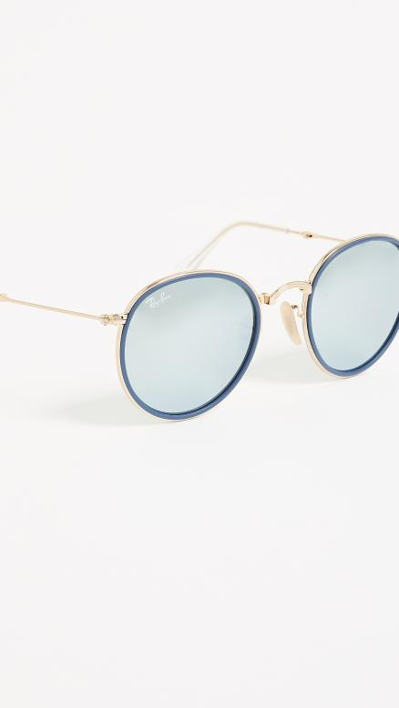 Ray-Ban RB3517 Mirrored Round Folding Icon Sunglasses